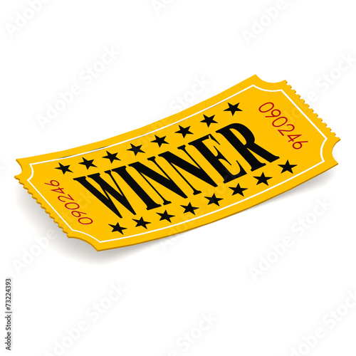 canvas print picture Winner ticket on white background