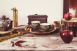 Old retro kitchen table with vintage tea pottery