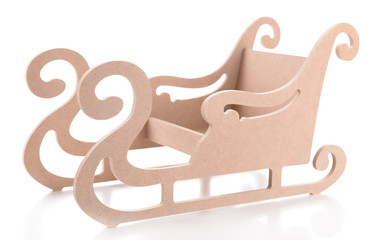 Wooden toy sledge for hand made decor, isolated on white
