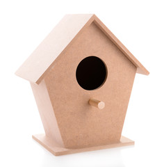 Wooden birdhouse for hand made decor, isolated on white