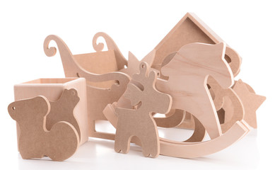 Wooden toys for hand made decor, isolated on white
