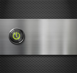 power switch or start button on metal plate background