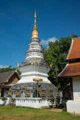 White pagoda at Temple in Chiang mai, Thailand public place