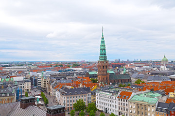 Panorama of colorful roof tops in Copenhagen, Denmark