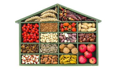 wooden food ingredient and spices box