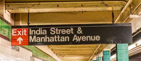 India Streets Manhattan Avenue subway sign in Brooklyn - New Yor