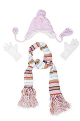 Knitted scarf and hat with mittens