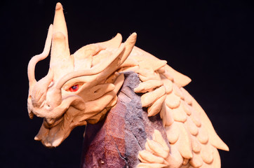 Wood Handmade Statuette of a Dragon