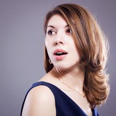 Beauty portrait of beautiful brunette girl