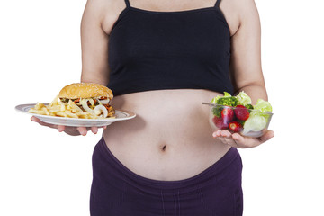 Pregnant belly and choice foods