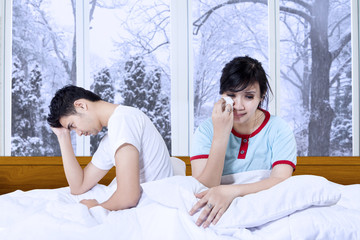 Sadness couple after quarreling at home