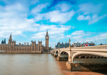 Westminster Bridge and Palace on a beautiful sunny day - London