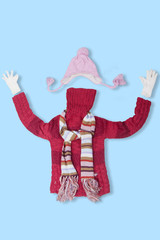 Sweater with warm clothing accessories