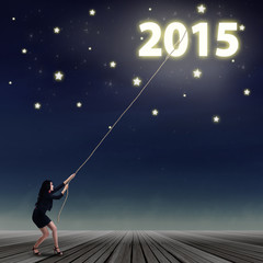 Woman taking number of 2015