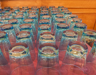 Rows of drinking glasses