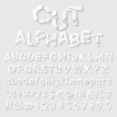 Decorative cut paper alphabet