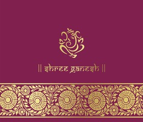 Ganesha, wedding card, royal Rajasthan, India
