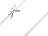 Fototapety silver ribbon with bow for packaging