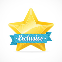 Exclusive star label. Vector illustration