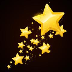 Vector gold star black background design