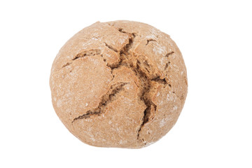 round loaf of black bread with cracks isolated on white backgrou