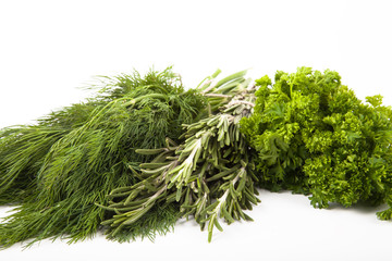 parsley, dill and rosemary on a white background