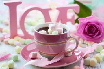 Hot chocolate and marshmallow
