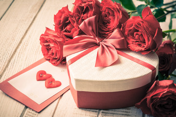 Valentine's day gift and roses