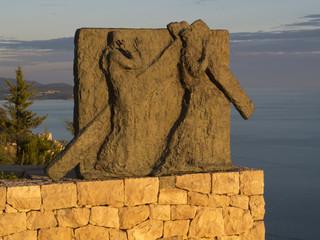 Sculpture sur chemin de croix, Dubrovnik., Mont Saint Serge.