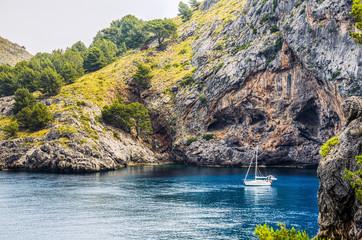 Boat anchored at Sa Calobra