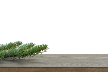 backdrop template with spruce branch on table