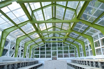 The closeup view of greenhouse framework at park