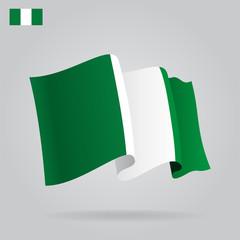 Flat and waving Nigerian Flag. Vector