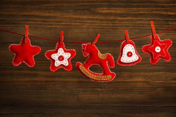 Christmas Decoration Hanging Toy, Grunge Wooden Background
