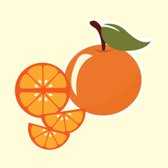 orange fruit with leaf. vector illustration