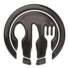 Illustration of spoon, knife, fork and black dish