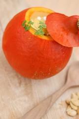 Red (Uchiki) kuri squash or Hokkaido pumpkin cream soup