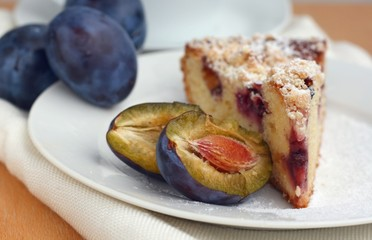Delicious sweet plum pie with crumble