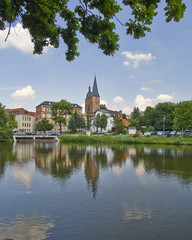 """Rote Spitzen"" towers, view from the lake, Altenburg, Germany"