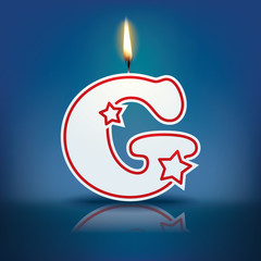 Candle letter G with flame