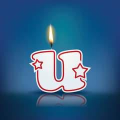Candle letter u with flame