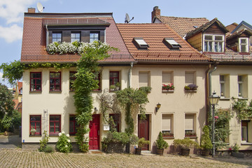 picturesque house facades, Altenburg, Thuringia Germany