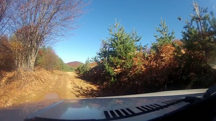 Off road driving through a mountain