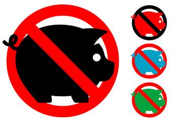 Pictograma cerdos no con varios colores