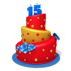 Birthday cake with number fifteen