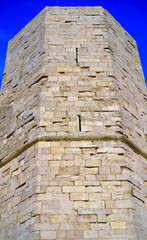 An octagonal tower of Castel del Monte, Apulia, Italy