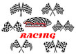 Black and white heraldic checkered racing flags - 73233537