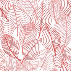 Autumnal stylized leaf seamless pattern