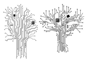 Computer tree with chip and motherboard