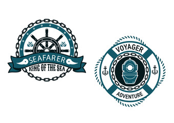 Nautical themed emblems and symbols
